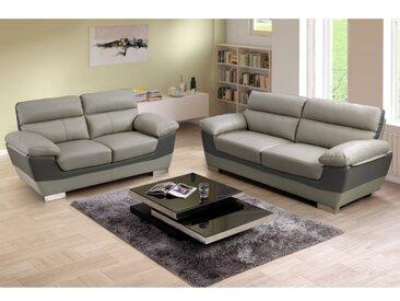 Canapé 3+2 places en cuir FRANCESCA - Bicolore anthracite et gris