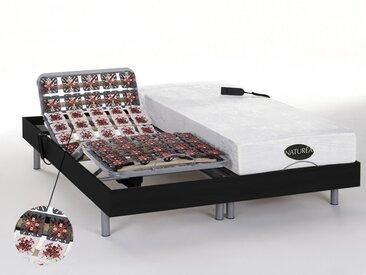Ensemble relaxation tout plots mémoire de forme et bambou LYSIS III de NATUREA - moteurs OKIN - 2x80x200cm - noir