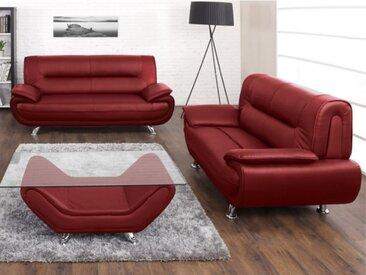 Canapé 3+2 places en simili NIGEL - Rouge