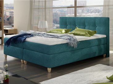 Ensemble boxspring complet tête de lit + sommiers + matelas + surmatelas POUPOUPIDOU de PALACIO - tissu bleu vert canard - 160x200cm