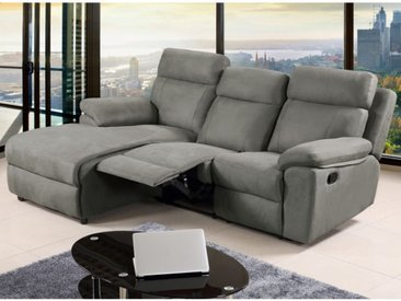 Canapé d'angle relax en tissu ARTUKI - Gris - Angle gauche