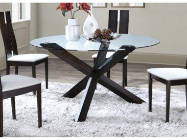 Table à manger CENTAURI - 6 couverts - Bois et verre trempé