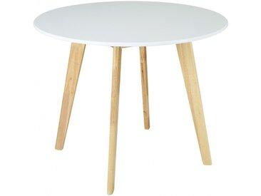Table ronde COLETTE - 4 couverts - Hévéa massif et MDF - Blanc