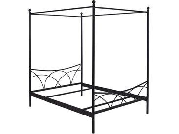 Lit à baldaquin ARISTIDE - 140x190 cm - Métal - Noir