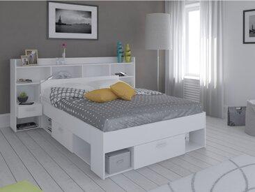 Lit + tête de lit KYLIAN avec rangements et tiroirs - modulable 140x190cm ou 140x200 cm - Blanc