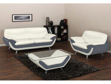 Canapé 3+1 places en simili INDICE - Bicolore ivoire et gris