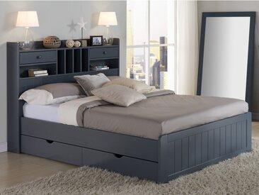 Lit MEDERICK avec rangements et tiroirs - 140x190cm - Pin gris