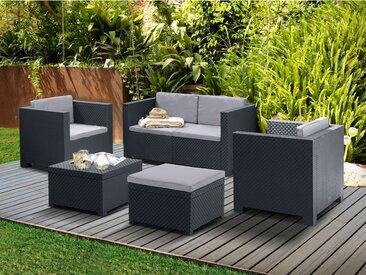 Salon de jardin SOPHIE II en résine moulée: un canapé 2 places, 2 fauteuils, un pouf et une table basse - anthracite