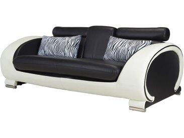 Canapé 3 places en simili HELIADES - Assise noire, tour de caisse ivoire