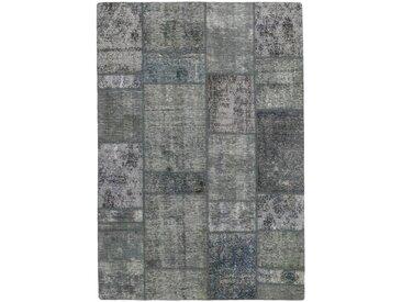 Tapis Patchwork 201x143 Moderne/Design Gris Foncé (Noué à la main, Laine, Perse/Iran)