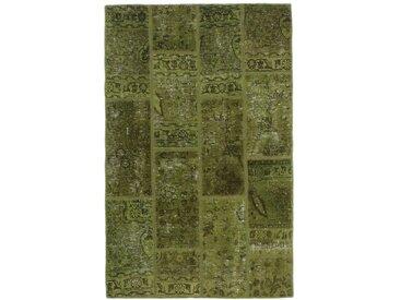 Tapis Persan Patchwork 152x97 Patchwork Marron Foncé/Olive Verte (Noué à la main, Perse/Iran, Laine)