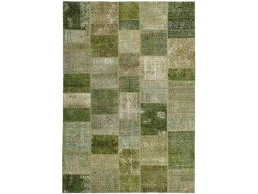 Tapis Patchwork 293x205 Moderne/Design Vert Foncé/Olive Verte (Noué à la main, Laine, Perse/Iran)