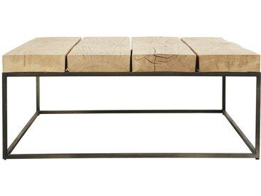 Table basse carrée en chêne massif et métal noir Magnus