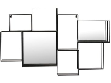 Étagère murale miroir en métal noir