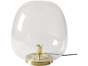 Lampe boule en verre et métal doré