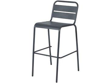 Chaise de bar de jardin en métal gris anthracite Batignolles