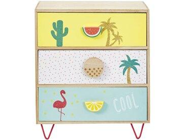 Petit meuble de rangement 3 tiroirs imprimé tropical