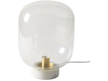 Lampe globe en verre et marbre blanc