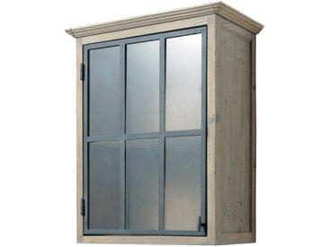 Meuble haut vitré de cuisine ouverture droite en pin recyclé L60 cm Copenhague
