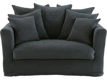Canapé-lit 1/2 places en lin gris charbon Bartholomé