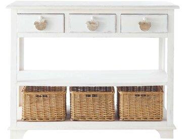 Console 3 tiroirs, 3 paniers blanche Basse-cour