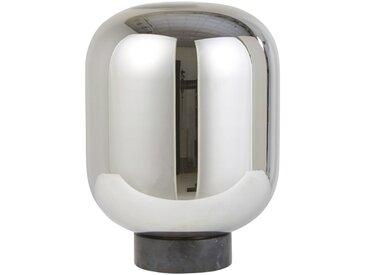 Lampe globe en verre chromé et marbre noir
