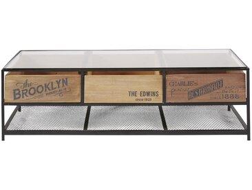 Table basse indus 3 tiroirs en verre et métal noir Papel