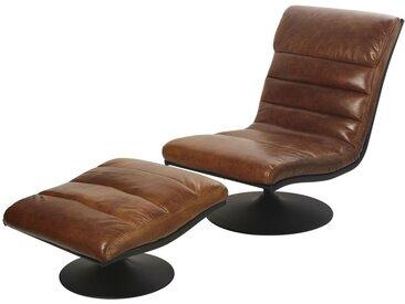 Fauteuil et repose-pieds vintage en cuir marron Lounge