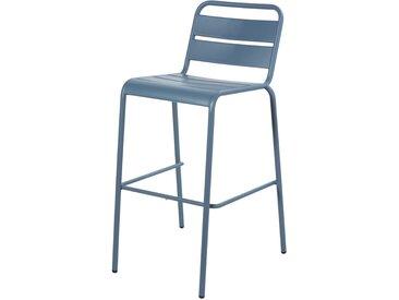 Chaise de bar de jardin en métal bleu gris Batignolles
