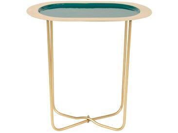 Bout de canapé oval en métal vert et doré