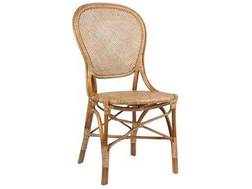Chaise en rotin naturel type médaillon pour la table de repas
