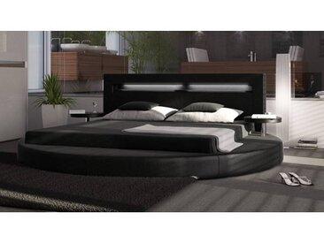 gdegdesign Lit rond design noir 180x200 cm simili cuir - Uster