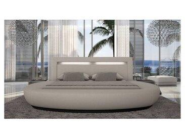 gdegdesign Lit rond design blanc 180x200 cm simili cuir - Kovel