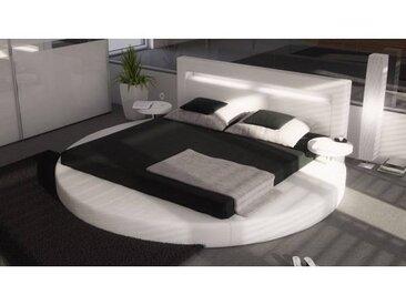 gdegdesign Lit rond design blanc 200x200 cm simili cuir - Uster