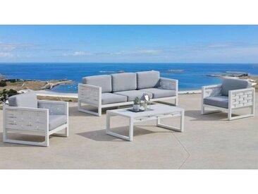 gdegdesign Salon de jardin 3+1+1 blanc et gris avec table basse - Riverside