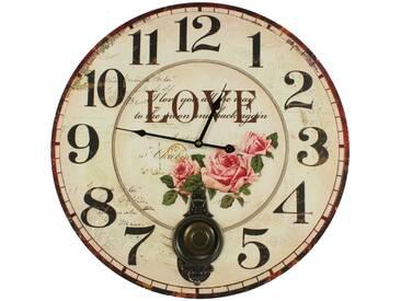 Décoration dAutrefois - Horloge Ancienne Balancier Love 58cm - Bois - Blanc