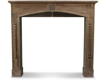 Décoration d'Autrefois - Encadrement Manteau Cheminée 116.5x18x101.5cm - Bois - Marron