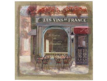 Décoration dAutrefois - Tableau Sur Lin Carre Boutique Vins 38x38cm - Bois, Lin