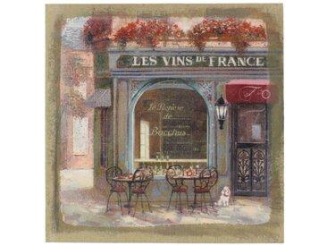Décoration d'Autrefois - Tableau Sur Lin Carre Boutique Vins 38x38cm - Bois, Lin