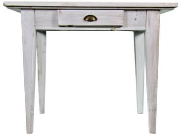 Décoration dAutrefois - Table Bois 2 Tiroirs Cerusé Blanc 100.5x72.5x78cm