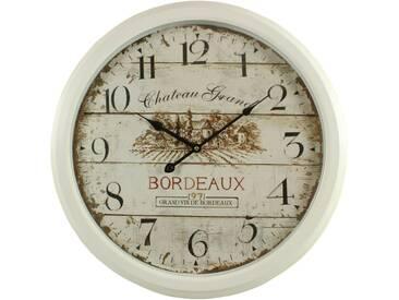 Décoration dAutrefois - Horloge Ancienne Murale Château Grand Bordeaux 58cm - Fer - Blanc