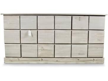 Décoration dAutrefois - Meuble Semainier Chiffonnier Grainetier Bois 18 Tiroirs Cerusé Blanc Nu 170x50x83cm