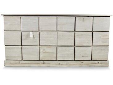 Décoration d'Autrefois - Meuble Semainier Chiffonnier Grainetier Bois 18 Tiroirs Cerusé Blanc Nu 170x50x83cm