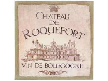 Décoration dAutrefois - Tableau Sur Lin Carre Château De Roquefort 38x38cm - Bois, Lin