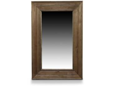 Décoration dAutrefois - Miroir Ancien Rectangulaire Vertical Bois 64.5x5.5x99cm - Marron