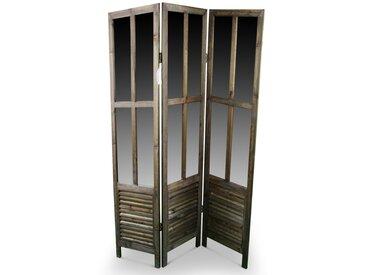 Décoration d'Autrefois - Paravent Miroir Ancien Bois 3 Panneaux 126x2x170cm - Marron