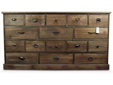 Décoration d'Autrefois - Meuble Semainier Chiffonnier Grainetier Bois 16 Tiroirs 170x35x92cm - Marron