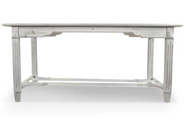 Décoration dAutrefois - Table Bois Cerusé Blanc 180x90.5x81.5cm