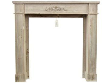 Décoration d'Autrefois - Encadrement Manteau Cheminée Cerusé Blanc 104x18x99cm - Bois