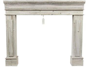 Décoration d'Autrefois - Encadrement Manteau Cheminée Cerusé Blanc 120x17x98.5cm - Bois